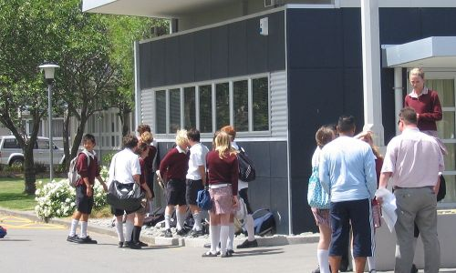 High School in Christchurch - High School students on their first day of class