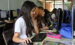 High School exchange in Costa Rica - Girl student at the Computer lab